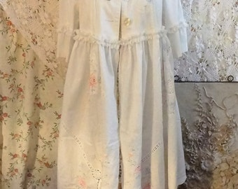 Altered Couture White Duster, Embroidered Coat, Shabby Chic Clothing, Upcycled Recycled Clothing, Mori Girl,  M/L  Bertha Louise