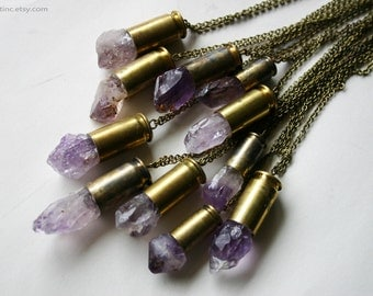 Raw Amethyst Crystal Bullet Necklace