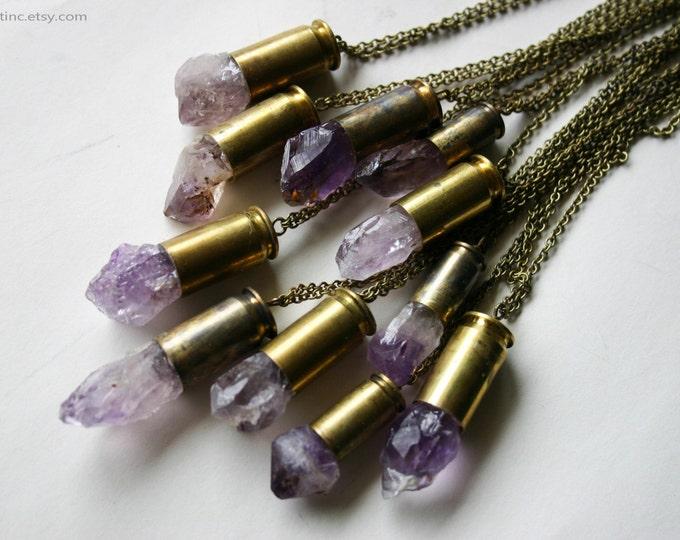 Raw Amethyst Crystal Bullet Necklace