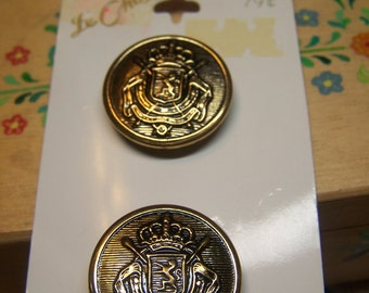"Vintage 7/8""  Brass Tone Metal Uniform Coat Buttons, Set of 2 (1705)"