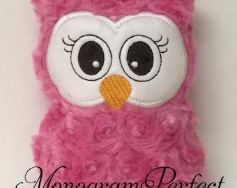 Ready to Ship---Hot Pink Plush Mini Owl Rattle -NOT PERSONALIZED