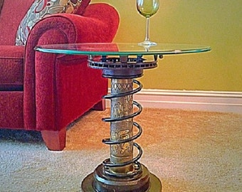 Steampunk Furniture for the ManCave. Side Table, WWI / WWI Trench Art: 75mm shell stippled/engraved with The Campbell Soup Kids