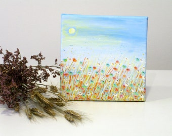 Light blue wall art Nature wall art Blue painting Original landscape painting Small landscape art Housewarming gift Floral art Flower art