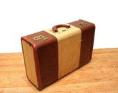 40s Tommy Traveler Leather Trimmed Suitcase, Distressed Vintage Suitcase, Midcentury Luggage