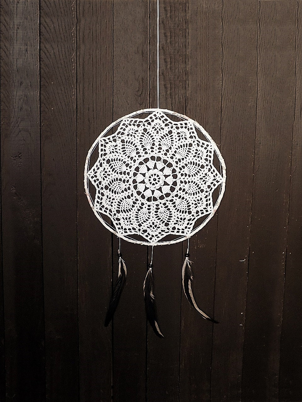 White Dream Catcher Wall Hanging Large Dreamcatcher Crochet