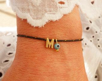 Monogram Bracelet - Turquoise Evil Eye Bracelet - Matte Gold Personalized Bracelet - Black Minimalist - Waxed Cord Initial Bracelet