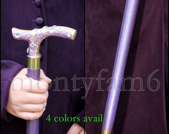 JOKER CANE, Wooden Walking stick, Unisex Suicide Squad Inspired Rhinestone crystals Cosplay Comic con Costume