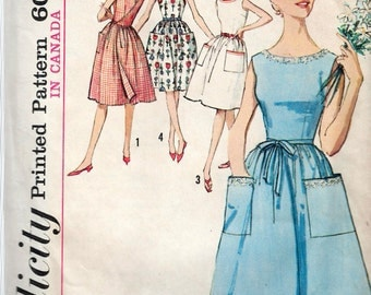 """Vintage 1964 Simplicity 5460 One-Piece Back Wrap Dress Sewing Pattern Size 12 Bust 32"""""""