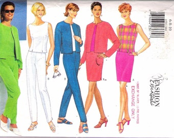 "1996 Butterick 4510 Fashion Essentials Jacket, Top, Skirt & Pants Sewing Pattern Size 6 - 8 - 10 Bust 30 1/2"" - 31 1/2"" - 32 1/2"" UNCUT"