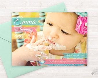 Photo Birthday Invitation - Printable Invite - Full Photo - Shabby Chic - Girly Birthday - Boy Colors too - ANY AGE or Birth Announcment