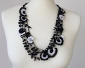 Crochet Statement Necklace, Black and White Necklace, Natural Stone Necklace, Crochet Bib Necklace, Beadwork, ReddApple
