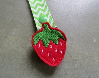 Pacifier Leash Paci Clip - Strawberry Feltie Metal Pacifier Clip