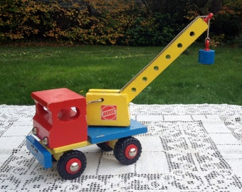 HEROS Wood Crane Truck Germany Blue Red & Yellow Quality Wooden Toy Truck With Chain Pulley And Magnetic Pickup 10 in Tall