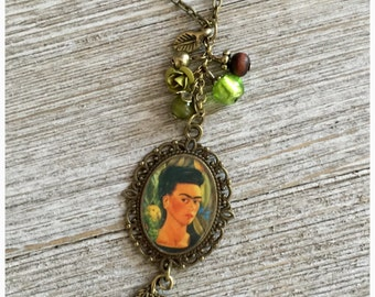 Frida Kahlo Art Bohemian Glass Bead Necklacr