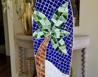 Wood Mosaic Surfboard Wall Decor, Beach House Art, Stained glass on wood, 5ft, Coastal art, Abstract Palm Tree Design, Made to Order