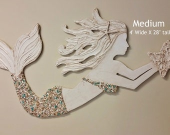 Mermaid Art Handmade Wood and Shell Mermaid, Coastal Beach House Decor, Made to Order, Choose your Options