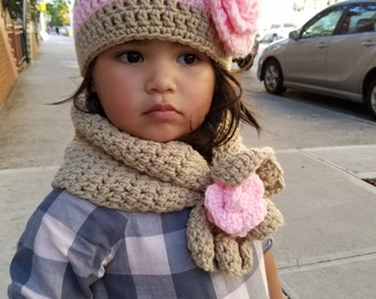 Toddler Hat and Scarf Set, Child Hat and Scarf Set, Kids Winter Wear, Adult Scarf Set, Toddler Scarf