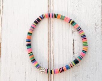 Boho chic vinyl disc beaded bracelet; neon bracelet; festival bracelet