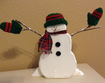 Cute Snowman tabletop Christmas decor cut from clear pine hand painted and decorated, Snowman collectable, Vintage hat and mittens