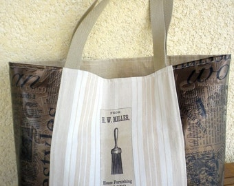 Large linen bag and faux leather