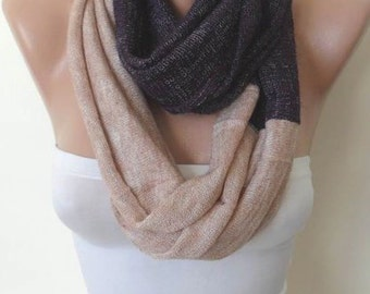 CHRISTMAS, HOLIDAY GIFT, Gifts For Her, Gifts For Women Knit Fabric Purple and Beige Infinity Scarf Loop Shawl Cowl