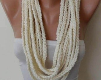 Gift for Her Christmas Gift Creamy White Loop İnfinity Scarf Shawl Cowl Holiday Gift