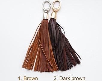 Leather tassel keychain, Long tassel, Brown and Dark brown