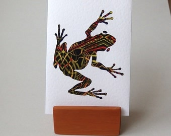 "Green Frog Fabric Card. 6"" x 4"" with envelope.  Blank for any occasion. Funky Frog. Hop Hop. Geometric frog greeting card."