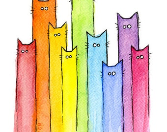 Rainbow of Cats, Colorful Cat Rainbow Print, Whimsical Animals, Watercolor Painting, Giclee Art Print