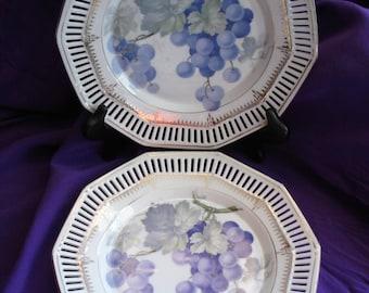 C S Carl Schumann Bavaria Reticulated Pierced Grape Plates, Pair