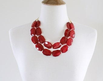 Oxblood Red Statement Necklace, Chunky Bib Necklace, Double Strand Red Beaded Necklace, Red Bridesmaid Necklace