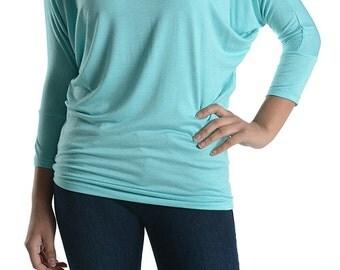 Best Selling Mint Dolman Tunic Top/Women/Petite/Plus Size