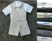 Ring bearer shorts outfit, boys bow tie, shorts, shirt, vest. Boys linen suit, toddler boy outfit, boys wedding outfit, ring bearer suit