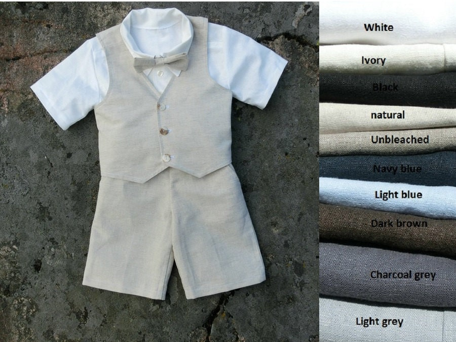 Ring bearer shorts outfit boys bow tie shorts shirt vest for Baby shirt and bow tie