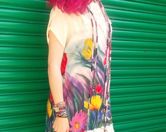 Upcycled Colorful Floral dress with lace on the collar