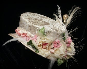 Cream and gold brocade riding hat with green and pink accents. Top hat. Mini top hat. Steampunk. Victorian. Bridal.