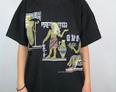 90s Ancient Egypt Golden Glitter Gods Black T Shirt Size Medium