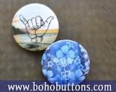 Hawaii Shaka Hand Pinback Button Set, Shaka Magnets, Hawaii Shaka, Hawaii Collection, Surfing Pin, Hawaiian Magnet, Shaka Pin, Shaka Gift