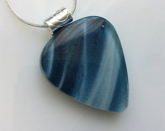 Guitar Pick Pendant, Fused Glass Jewelry, Steel Blue Art Glass Guitar Pick Necklace