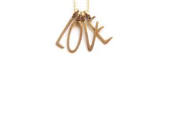 LOVE Charm Necklace, Alphabet Charm Necklace, LOVE Pendant Necklace, LOVE Letter Necklace