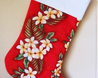 Mele Kalikimaka, Quilted Hawaiian Christmas Stocking, Tropical Holiday Decor, Plumeria Flowers, Island Christmas, Red, Handmade in Hawaii