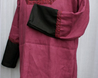 M Guild Master's Tunic in Burgundy and Black Linen with Burgundy, Red, & Black Trim, Long Sleeve