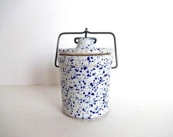 Vintage Blue and White Speckled Spatterware Earthenware Canister / Jar