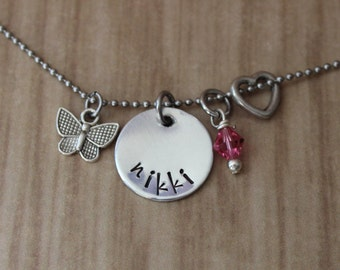 Butterfly Handstamped Necklace - Butterfly Charm, Affordable Gifts, Gift Ideas, Girls Necklace, Girls Jewellry, Gifts for Girls, Gifts