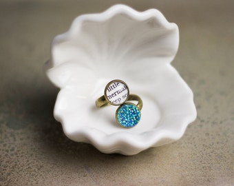 The Little Mermaid, Hans Christian Andersen, Adjustable Ring, Mermaid Jewelry, Faux Druzy Stone, Book, Bookish, Literary, Classic Fairy Tale