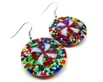 Christmas Jewelry, Christmas Earrings, Peppermint Candy Earrings, Peppermint Jewelry, Holiday Jewelry, Candy Earrings, Sprinkles Jewelry