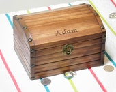 """Wooden Treasure Chest, Keepsake Jewelry Box, Pirate Chest, Personalized Name, Initials, Date, Year, Custom Text, 7.25"""" Long"""