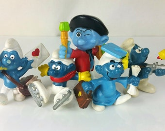 Vintage Smurf Lot Schleich Peyo Figurines 1970s, 1980s Hong Kong, W Germany, Ice Skater, Valentine's Day Postman, Painter, Graduate, Hunter