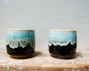 Ceramic jars, glazed with brown and turquoise, vintage