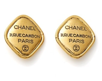 S.A.L.E was 440 now 395 gorgeous vintage 80s CHANEL Rue Cambon gold diamond clip on earrings ear clips